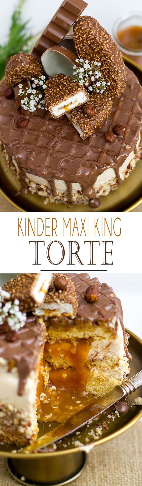 Kinder Maxi King Torte / Cake with hazelnut caramell sauce, waffle topper and lo…