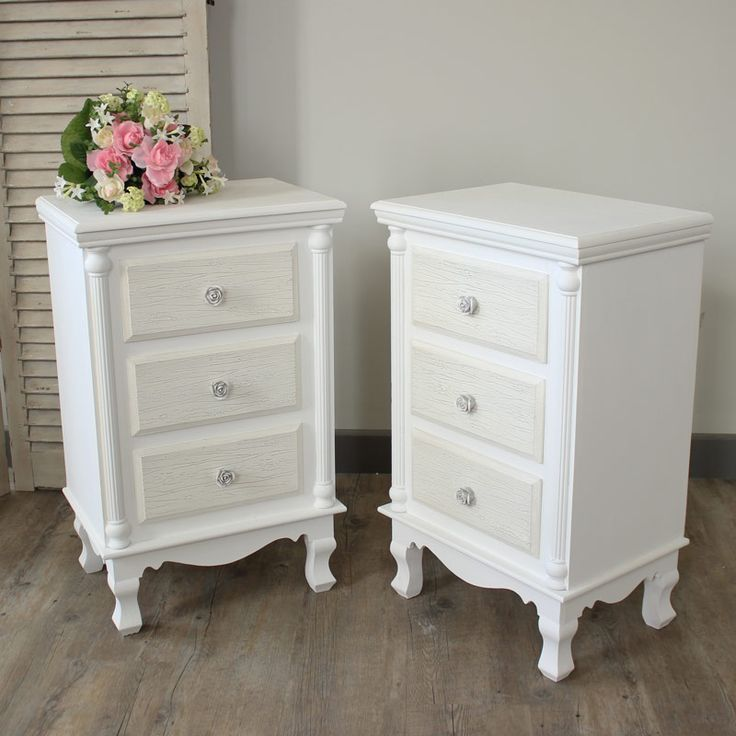 White bedside tables pair of white bedside table chests - Shabby chic bedroom sets for sale ...