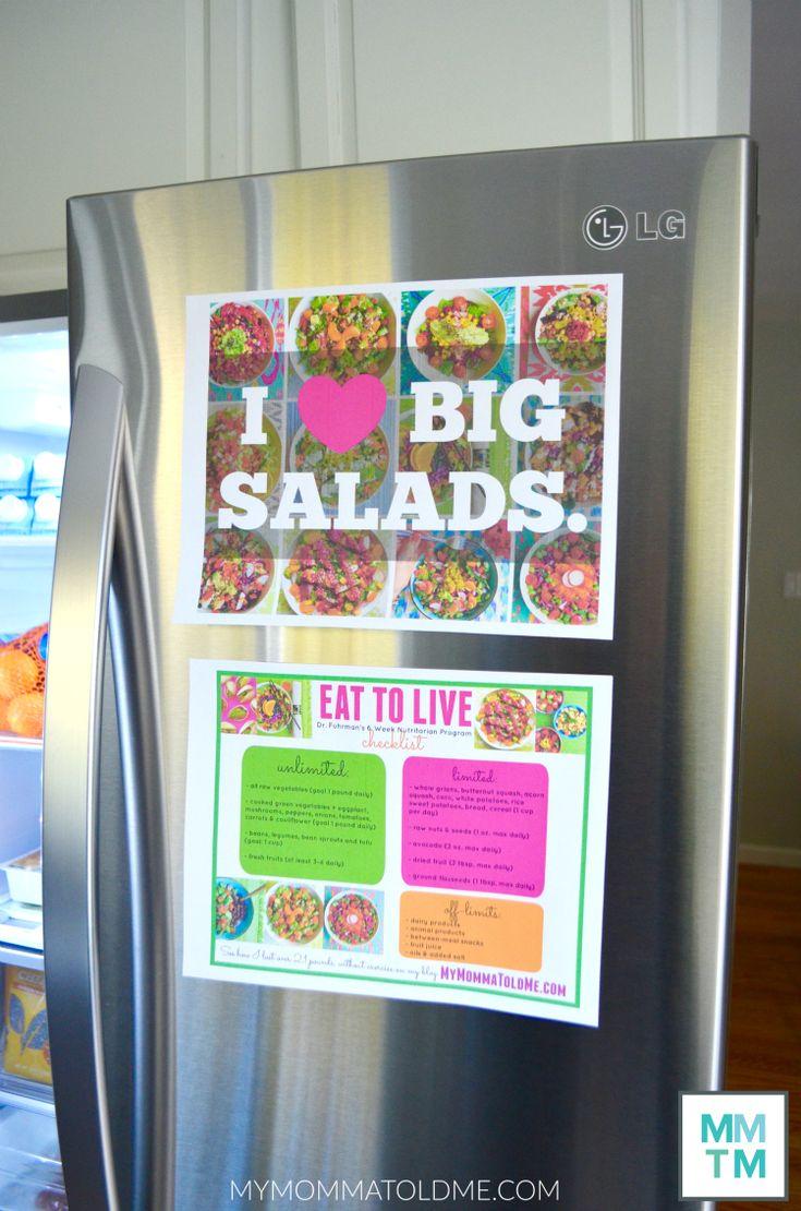 Dr Fuhrman Eat to live Fridge Tour Nutritarian Checklist free printables Dr Fuhrman PBS Special End Dieting Forever