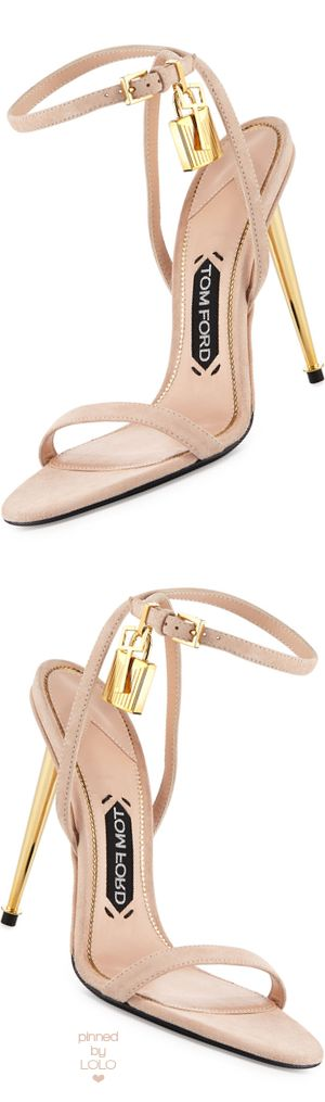 TOM FORD Lock Ankle-Wrap Suede 110mm Sandal | LOLO❤︎