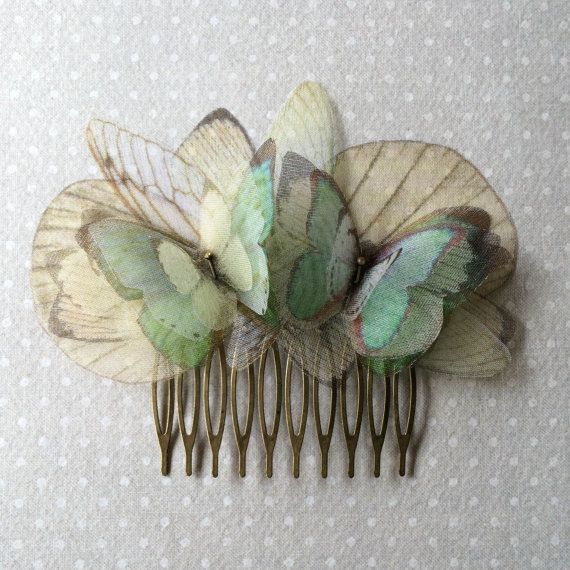 I Will Fly Away - Handmade Hair Comb with Seafoam Green Aqua Light Teal Silk Organza Butterflies and Ivory Wings - One of a Kind