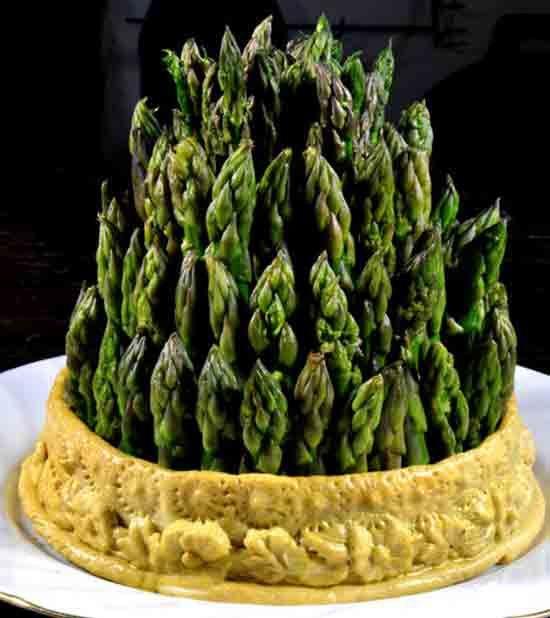 Historic food - asparagus in crust.