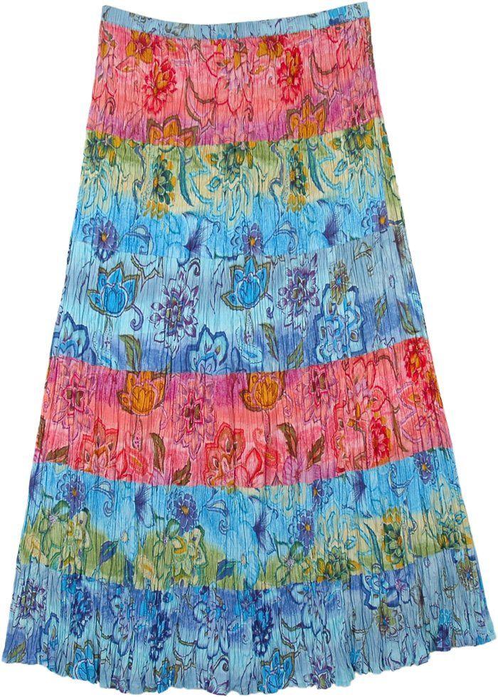Killarney Tie Dye Wrap Around Long Skirt in Thick Jersey Cotton