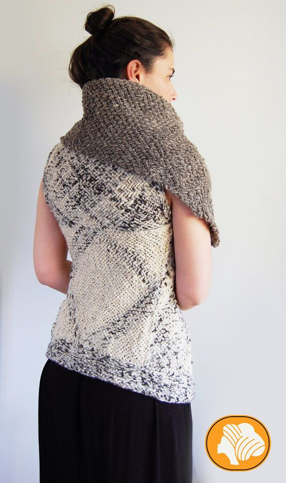 Natural flecked hooded wrap vest by Ullvuna on Etsy