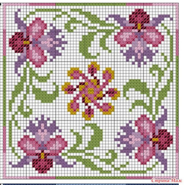 "Cross-stitch Floral Biscornu, part 2... no color chart available, just use pattern chart as your color guide.. or choose your own colors... Бискорню ""Тайланд"""