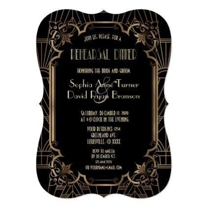 Glam Black Great Gatsby Art Deco Rehearsal Dinner Card - chic design idea diy elegant beautiful stylish modern exclusive trendy