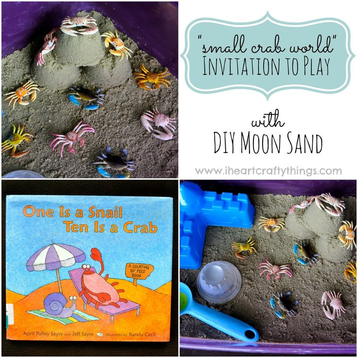 """Small Crab World Invitation to Play with DIY Moon Sand to go along with """"One is a Snail, Ten is a Crab: A Counting by Feet Book."""""""