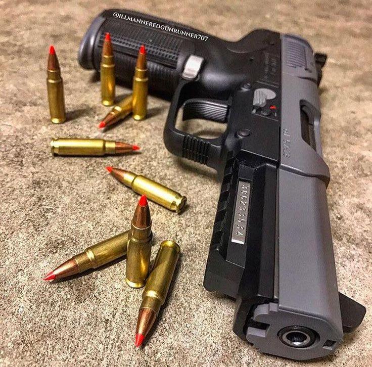 Customized FN 5.7 pistol in sniper grey