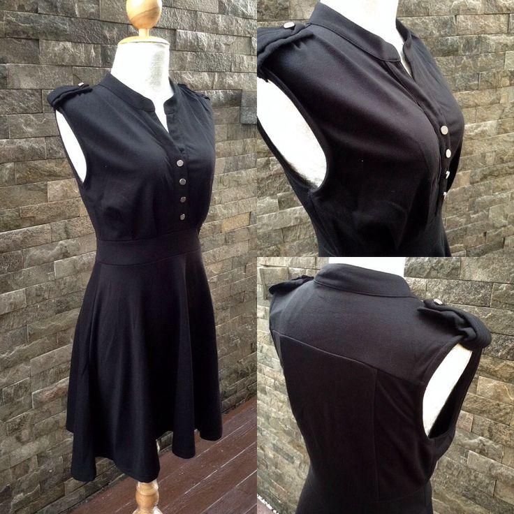 LS110 : M เดรสเกาหลี ผ้ายืดนุ่ม สีดำ กระดุมหน้า แขนกุด  Brand : Valleygirl // www.ladyseoulshop.com