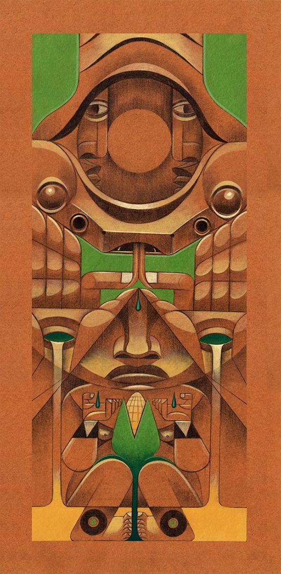 La obra del colombiano Jorge Lewis Morales está llena de totems modernos con claros referentes a animales y sus espíritus, seres mágicos y deidades que forman parte de una revisualización del folklore prehispánico.
