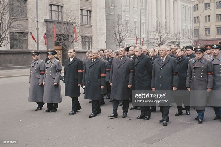 Leaders of the Soviet Union, including Communist Party General Secretary Leonid Brezhnev (1906-1982), 5th from left and Russian Premier Alexei Kosygin (1904-1980), 6th from left in front row, march at the head of a funeral procession for Russian cosmonaut Yuri Gagarin, killed in a plane crash, in Moscow in April 1968.