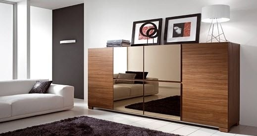 contemporary wooden and glass sideboard NESTOS COMP.227 Mercantini Mobili