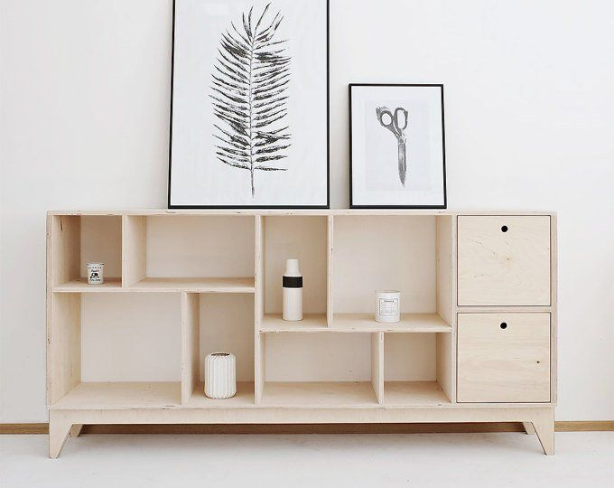 Drupal Long Plywood Tv Cabinet Handmade Tv Console Bookcase Scandinavian Storage Shelves Interior