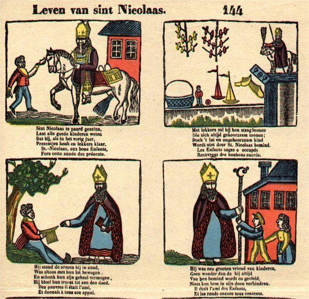 Centsprent over sint Nicolaas in de vorm van een stripverhaal met vier tekeningen.