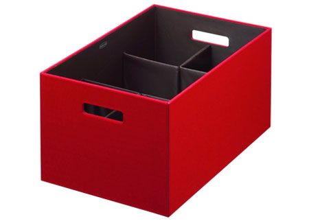 Storage box with built in, optional dividers  http://unclutterer.com/2012/04/02/new-storage-products-for-the-home/?utm_source=feedburner_medium=feed_campaign=Feed%3A+unclutterer+%28Unclutterer%29_content=Google+Reader