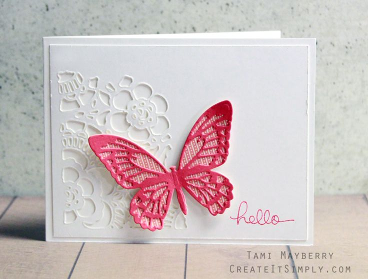 handmade greeting card from Create It Simply with Tami Mayberry ... white with a big pink butterfly ... luv the intricate negative space die cut floral corner .... white on white ... looks like lace ... beautiful butterfy ... Tim Holtz dies ...