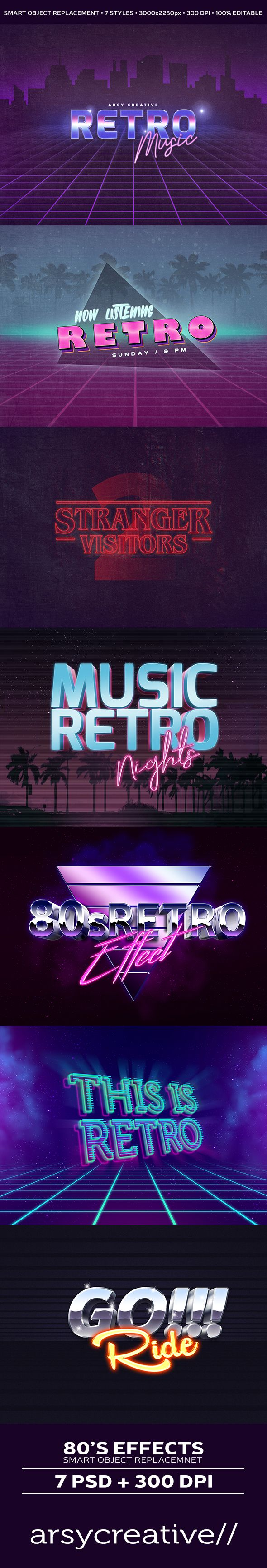 7 Styles 80's Retro Photoshop Text Effects