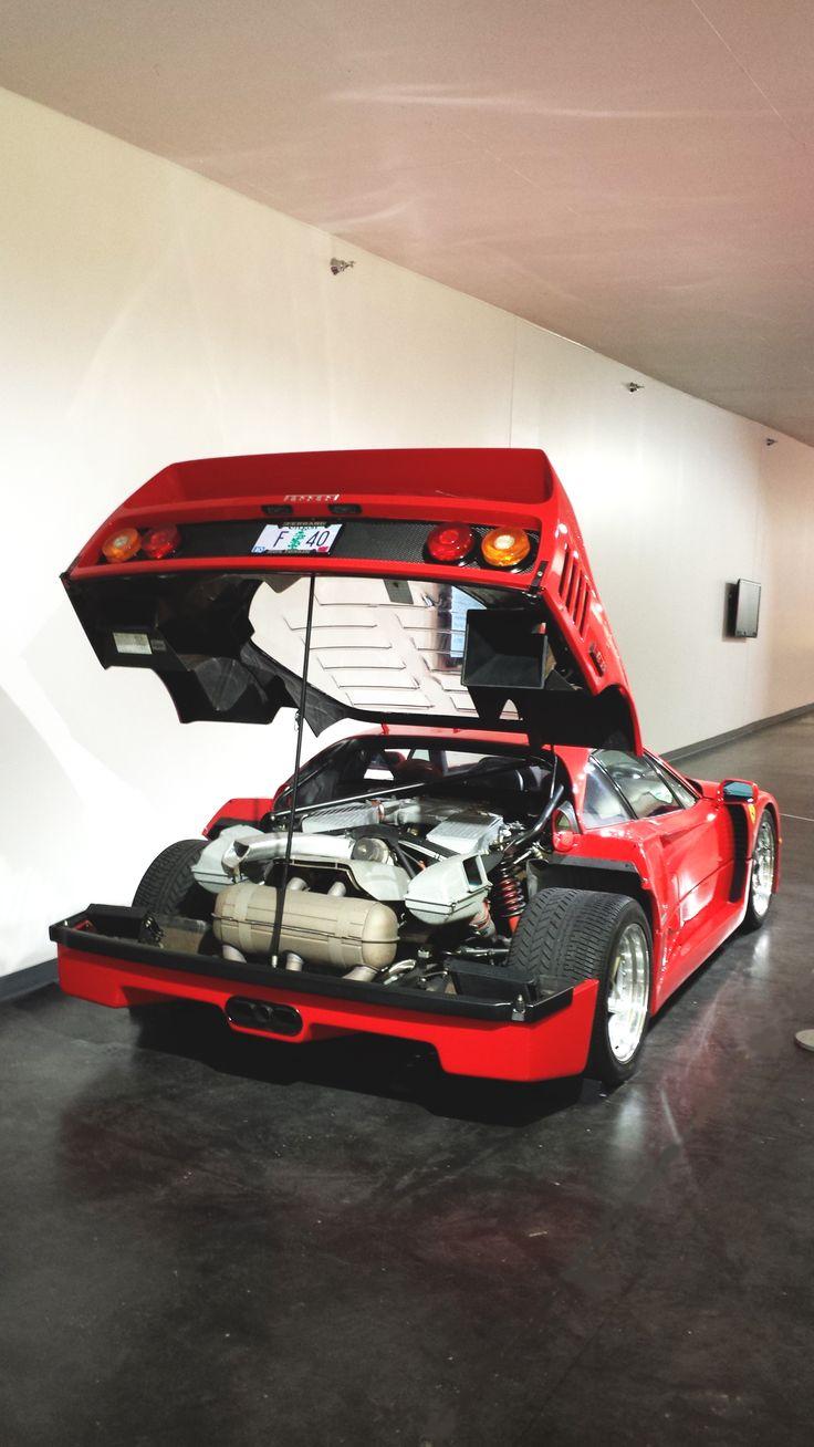1990 Ferrari F40 rear engine compartment.