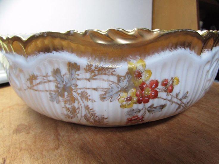 VINTAGE LIMOGES SCHLEIGER LS&S EMBOSSED LARGE FRUIT BOWL GOLD TRIM | eBay