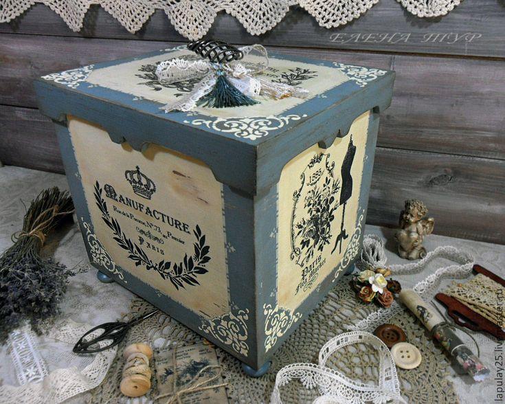 """Купить """"Manufakture"""" большой короб сосна - голубой, короб, короб для хранения…"""
