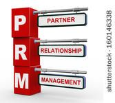 3d illustration of modern roadsign cubes signpost of prm - partner relationship management