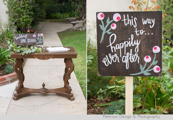 Wedding at La Canada Thursday Club in La Canada Flintridge with nature, wood and handmade details sign in table, guestbook