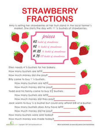 Fraction Word Problems Strawberry Stand