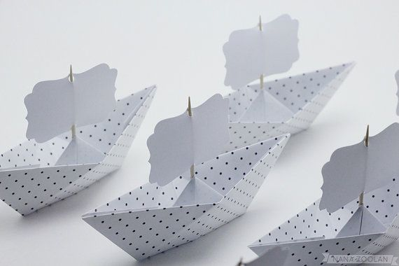 12 Paper Boat Name Place Cards, Wedding Reception Baby Shower Favors Family Reunion Origami Picnic Lunch Tea Party Summer Holiday Bon Voyage on Etsy, $17.07