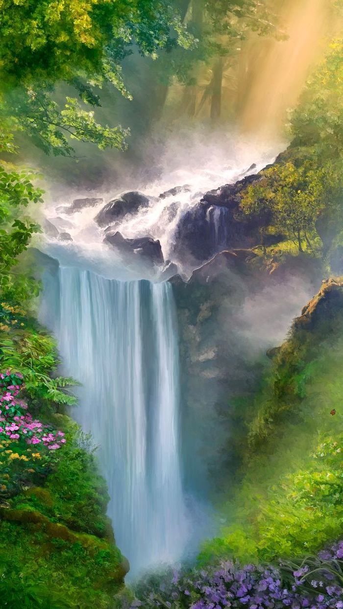Painting Of A Waterfall Surrounded By Greenery Spring Pictures Phone Wallpape Click Here To Download W Spring Wallpaper Scenery Wallpaper Spring Pictures
