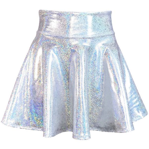 Holographic Silver High Waisted Skater Skirt Clubwear, Rave Wear, Mini... ($34) ❤ liked on Polyvore featuring skirts, mini skirts, high waisted skirts, high-waist skirt, high-waisted skirts, stretch mini skirt and flared mini skirt