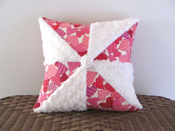 Pink pillow cover 14 X 14 PINWHEEL HEARTS by moreChenilleChateau