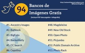 94 sitios donde descargar imágenes gratuitas en una infografía