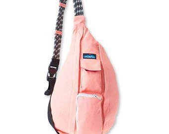Monogrammed Kavu Rope Bag - Coral | Monogram Crossbody Bag | Teens | Women | Outdoors Satchel | Gift for Her | Canvas Sling Bag