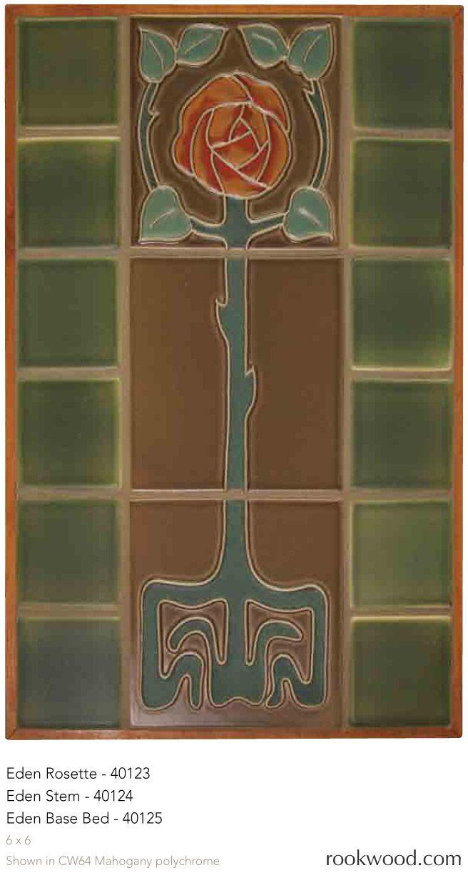 回 Tile o Phile 回  Eden Rosette - Arts & Crafts rose tile mural by Rookwood Pottery