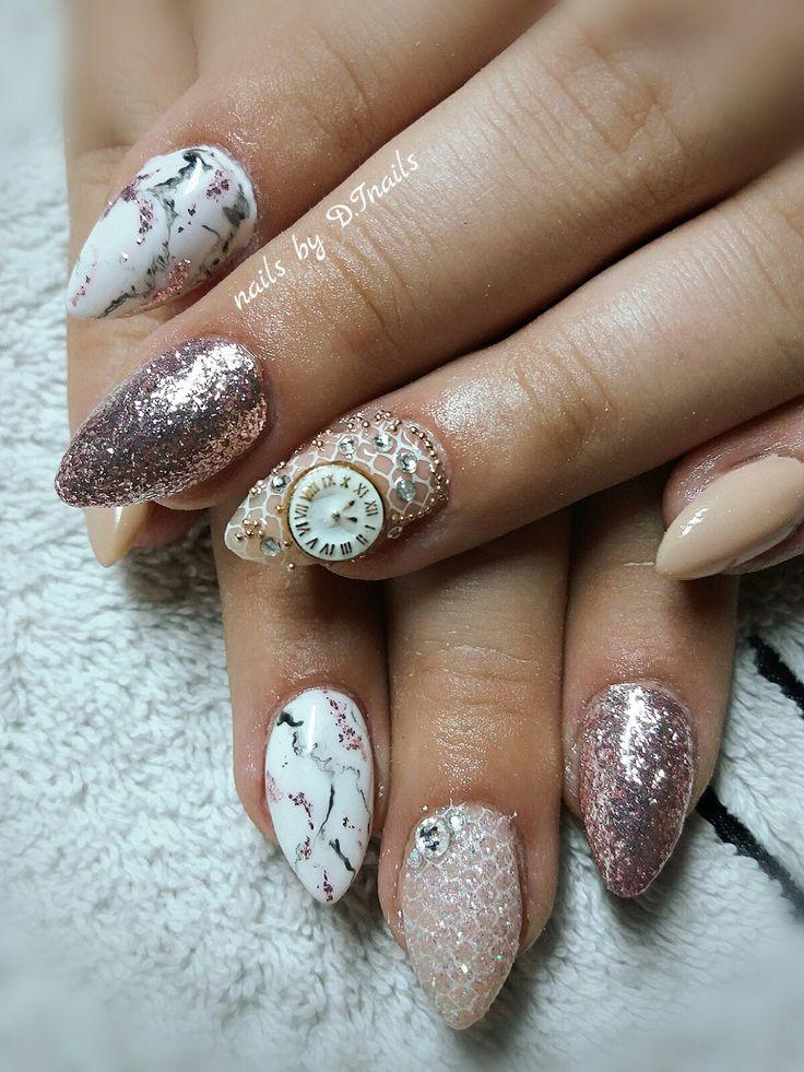 Απλά υπέροχα!!!  #acrylnails #almondshape #nude #lace #marbleeffect #caviar #clock #jewellery #strass #glitter #nailcreations