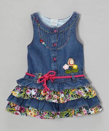 Look at this #zulilyfind! Denim & Fuchsia Ruffle Tiered Dress - Toddler & Girls #zulilyfinds
