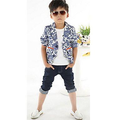 Boy's Tailor Collar Blauw-wit Suit – EUR € 15.64
