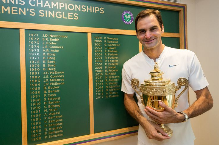 Roger Federer smiles as he poses in front of the Gentlemen's Singles champions' board displaying his eight Wimbledon titles.