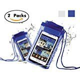 """Amazon.com: Universal Waterproof Case, MoKo [2-Pack] Cellphone Dry Bag with Armband Neck Strap for iPhone 7, 7 Plus, 6s, 6, 5s, Note5, S7 Edge, Pixel, Pixel XL, BLU Huawei & Other Devices up to 6"""", BLACK + BLUE: Cell Phones & Accessories"""