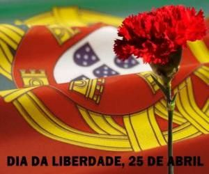 Freedom Day, April 25, Portugal';s national holiday to commemorate the Carnation Revolution of 1974 puzzle