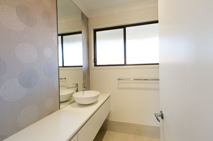 (c) Photo Sarah Whyte Photography   Main Bathroom Wallpapered Wall