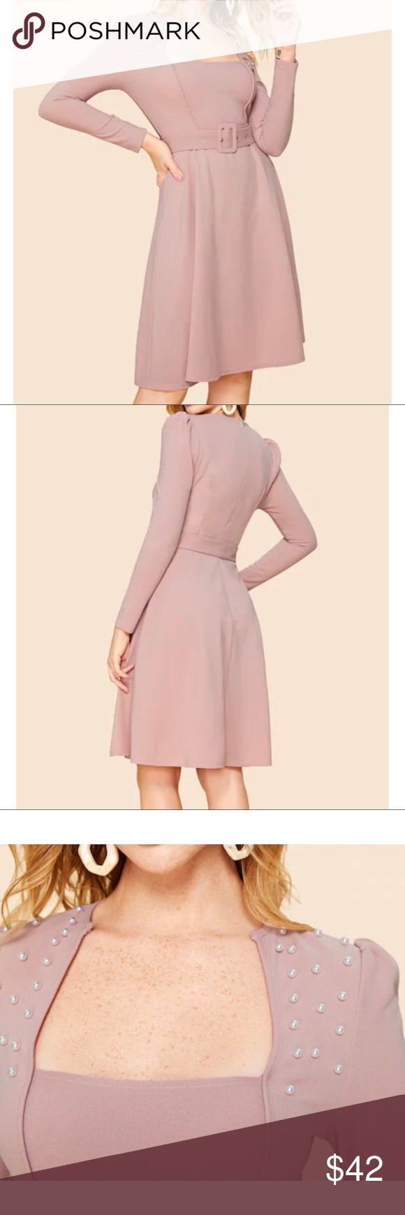 Belted Fit N Flare Beaded Dress Pale Pink NWT Vintage Look Dress Pale Pink  G/00…