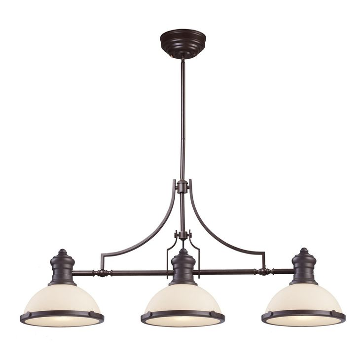 elk chadwick oiled bronze and white glass 3light island