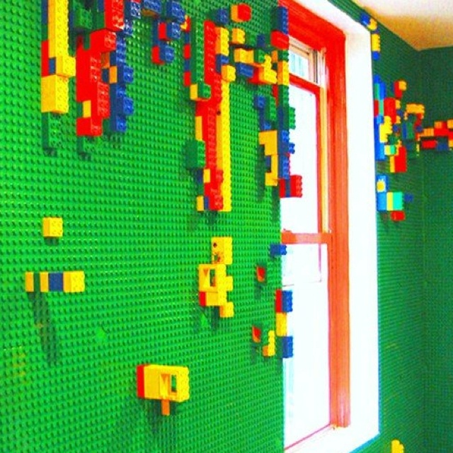 Lego wall... so cute for a playroom wall!
