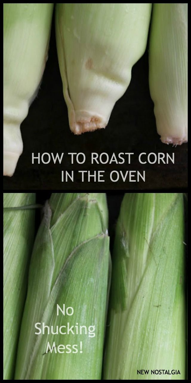 How To Make Corn On The Cob In The Oven – No Shucking Mess.  The corn steams in it's own husks and & the silk rolls right off when finished.  SO easy!