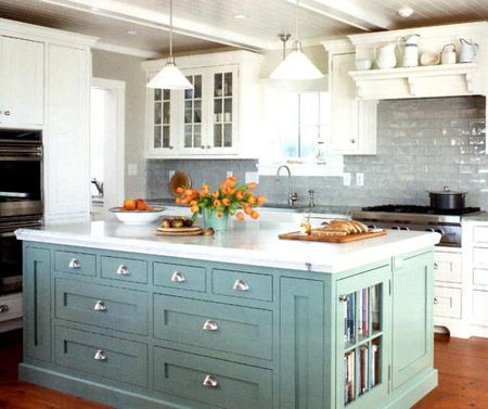 Beautiful Tiffany Blue Kitchen done right. Just a pop of color makes a huge statement!
