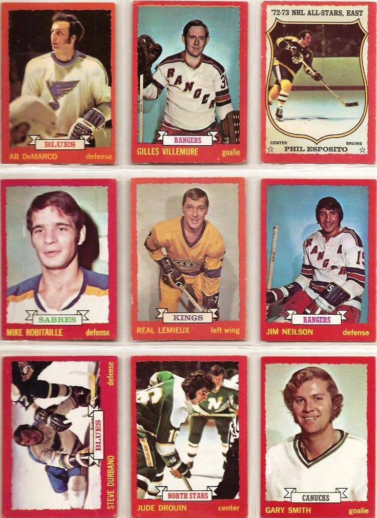 118-126 Ab DeMarco, Gilles Villemure, Phil Esposito, Mike Robitaille, Real Lemieux, Jim Neilson, Steve Durbano, Jude Drouin, Gary Smith