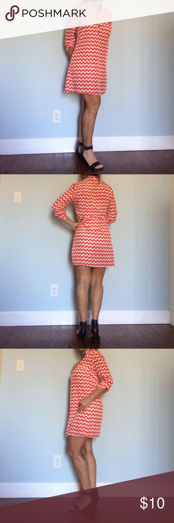Orange/White Chevron print dress Cute Orange//White Chevron print dress. Dresses Midi
