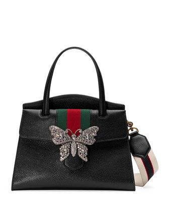 734d881100f829 Linea Totem Medium Leather Top-Handle Bag with Butterfly & Web Strap by  Gucci at Neiman Marcus.