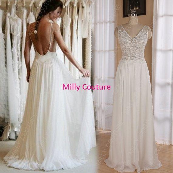 chiffon lace wedding dress low back, backless beach wedding dress,summer beach wedding dress,chiffon dress evening on Etsy, $219.00